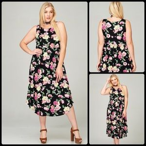 Dresses & Skirts - Plus Size Floral MIDI Dress